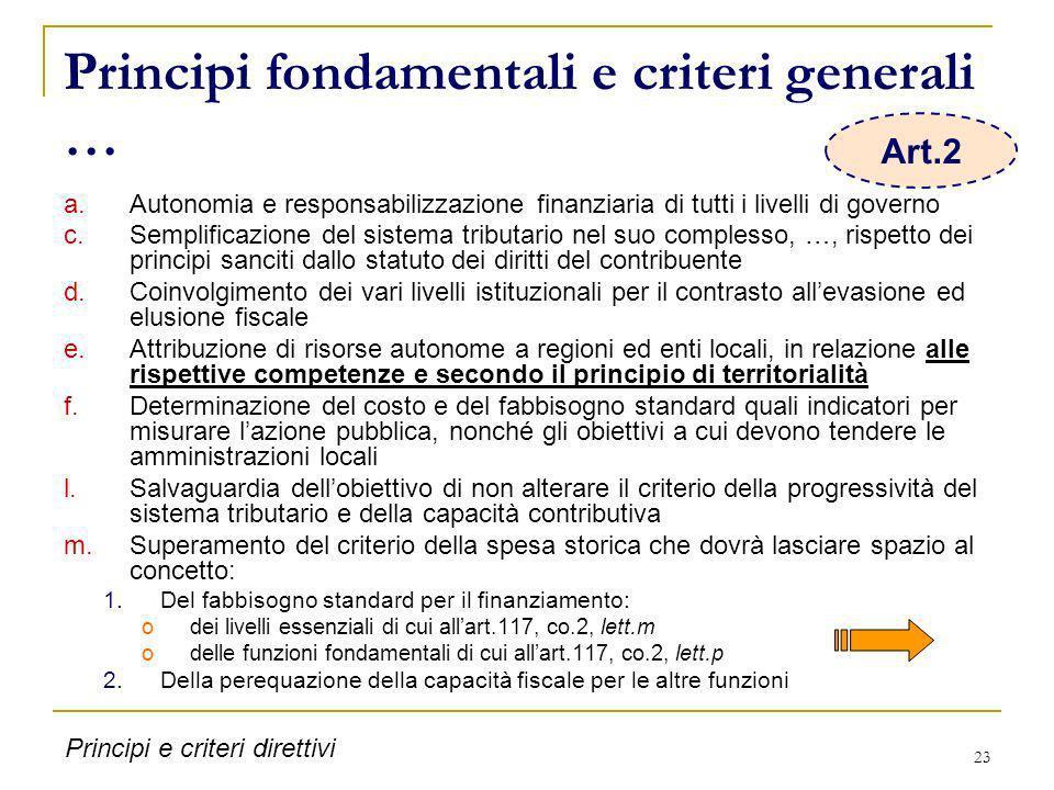 Principi fondamentali e criteri generali …