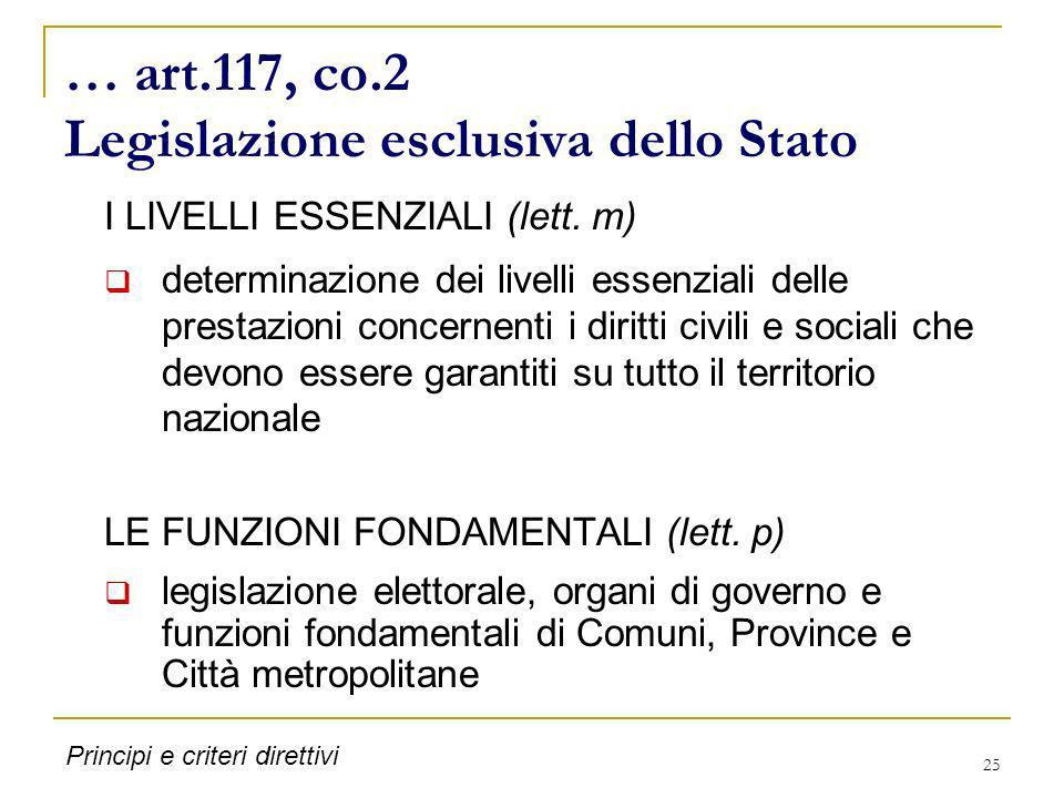 … art.117, co.2 Legislazione esclusiva dello Stato