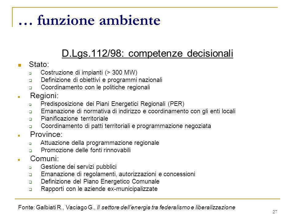D.Lgs.112/98: competenze decisionali