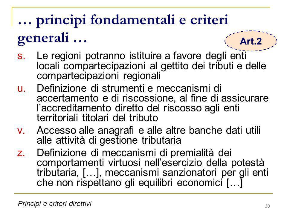 … principi fondamentali e criteri generali …