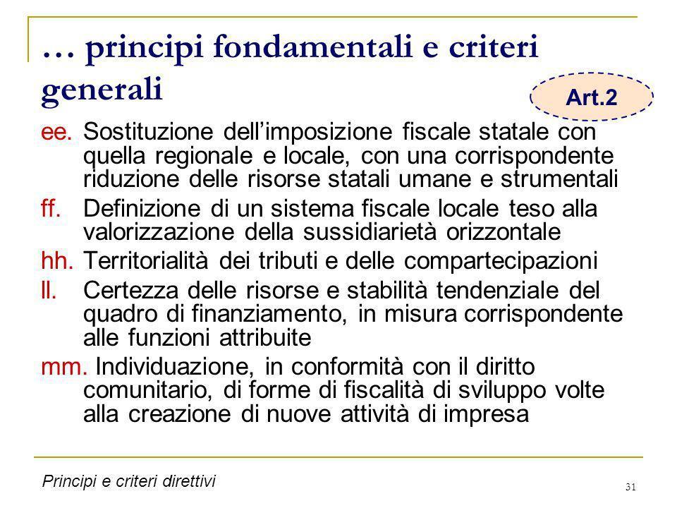 … principi fondamentali e criteri generali