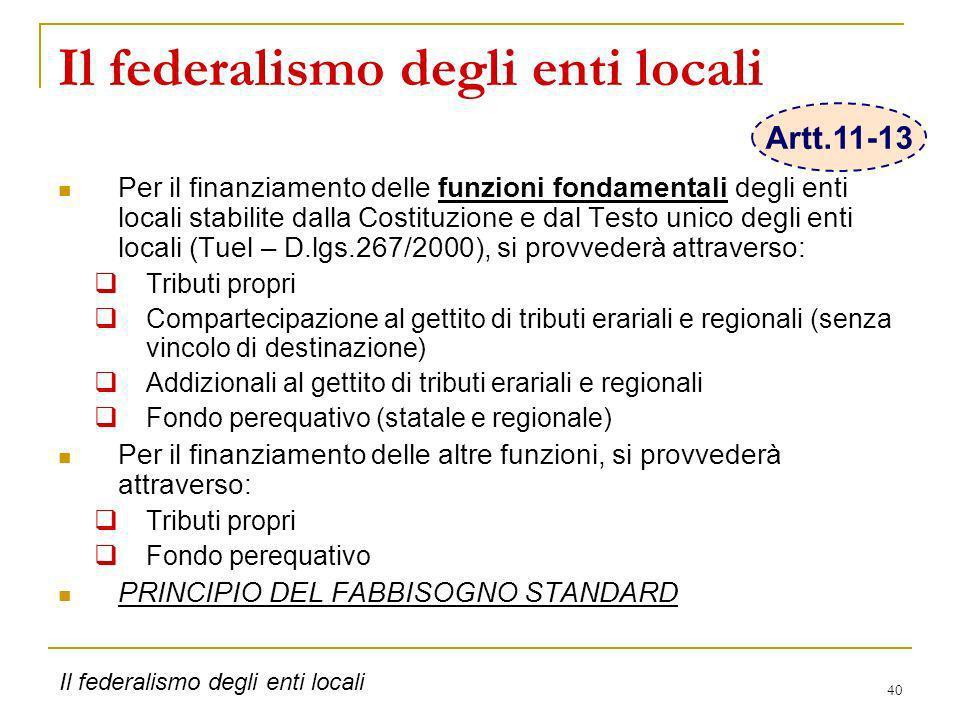 Il federalismo degli enti locali