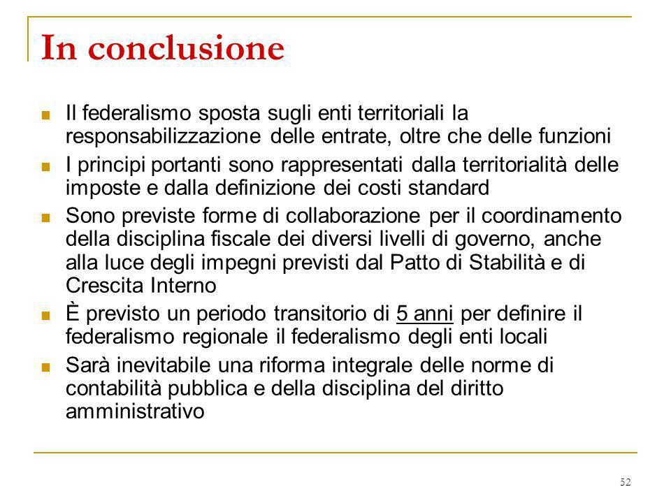 In conclusione Il federalismo sposta sugli enti territoriali la responsabilizzazione delle entrate, oltre che delle funzioni.