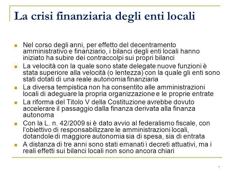 La crisi finanziaria degli enti locali