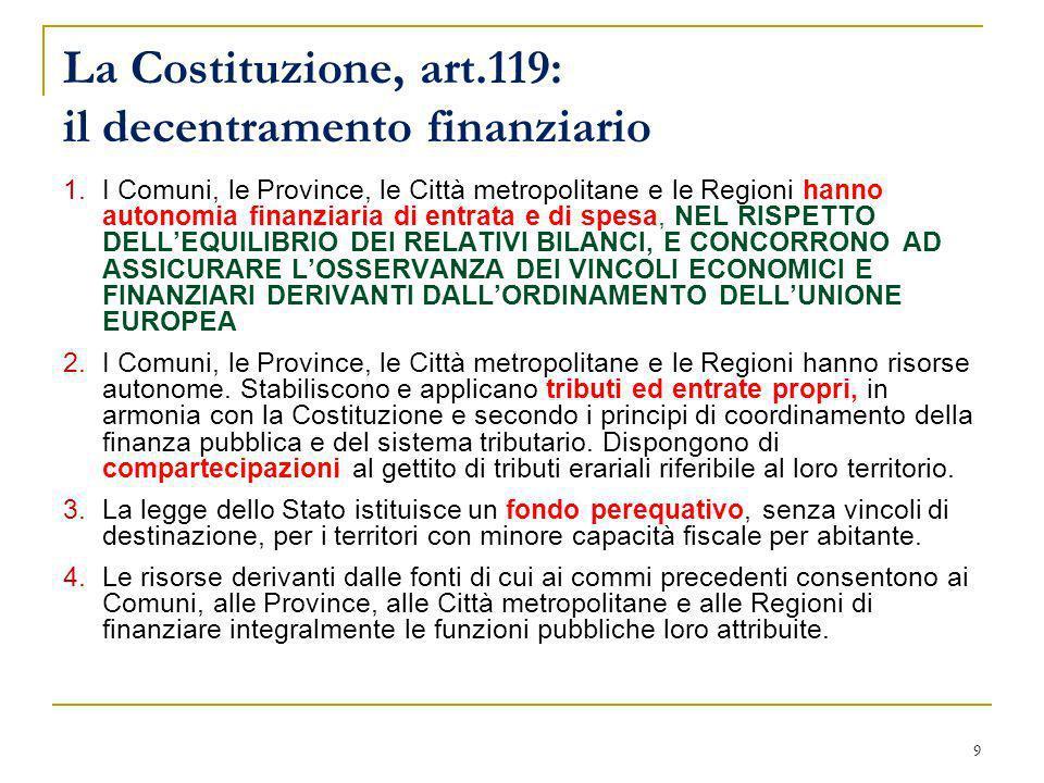 La Costituzione, art.119: il decentramento finanziario