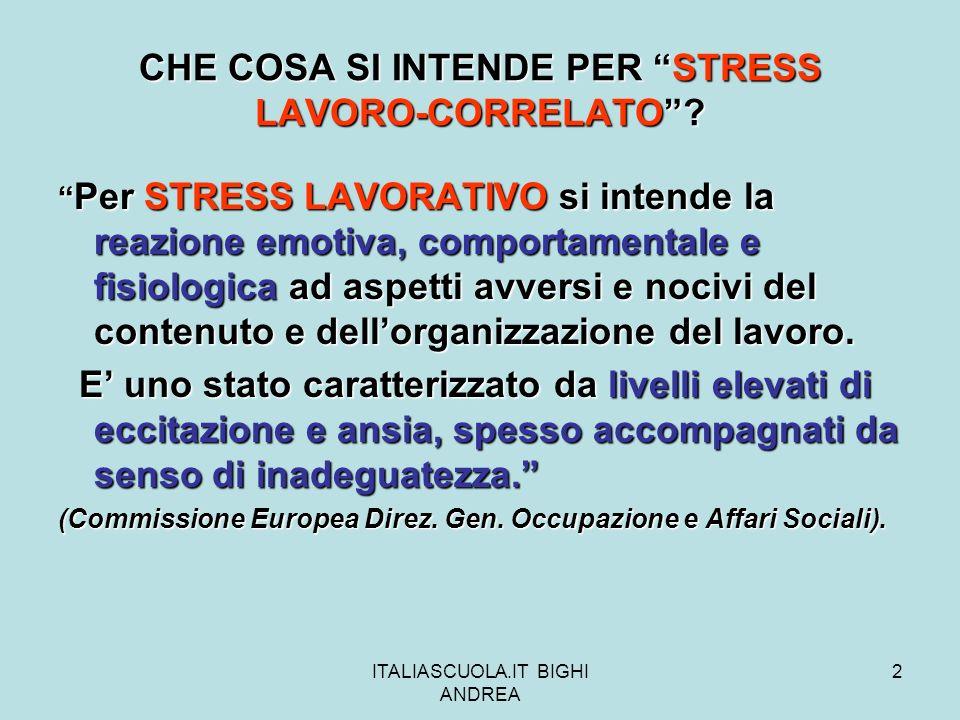 CHE COSA SI INTENDE PER STRESS LAVORO-CORRELATO