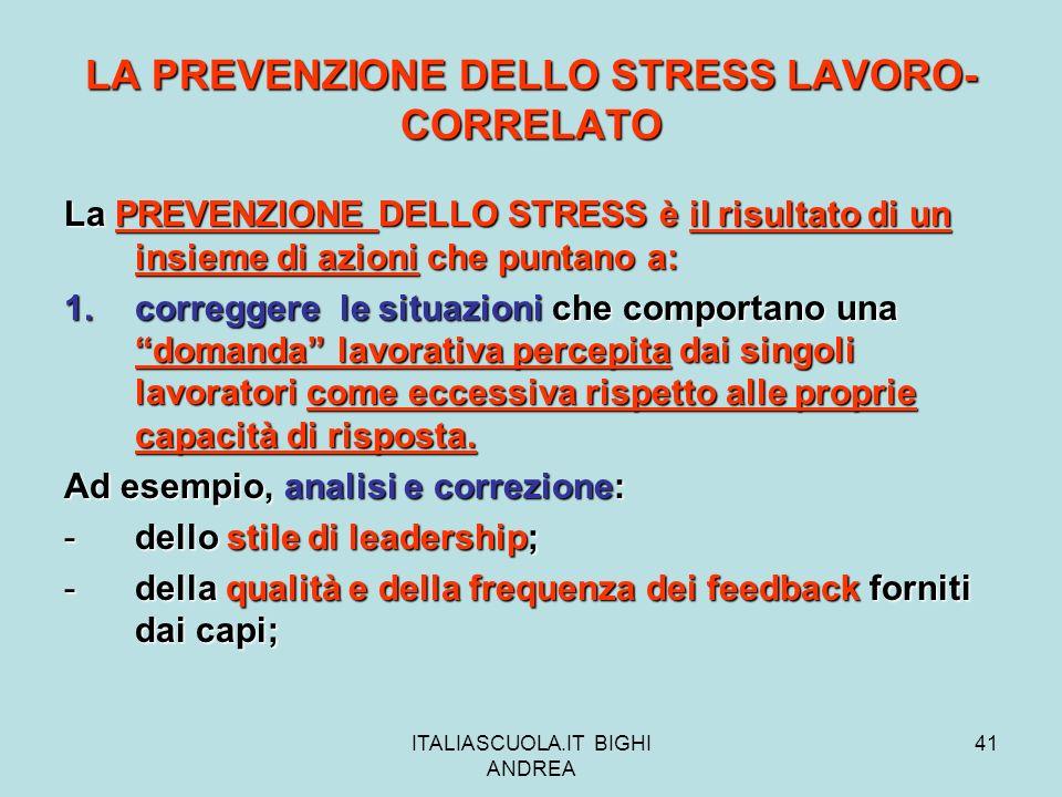 LA PREVENZIONE DELLO STRESS LAVORO-CORRELATO