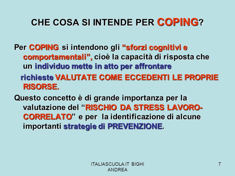 CHE COSA SI INTENDE PER COPING