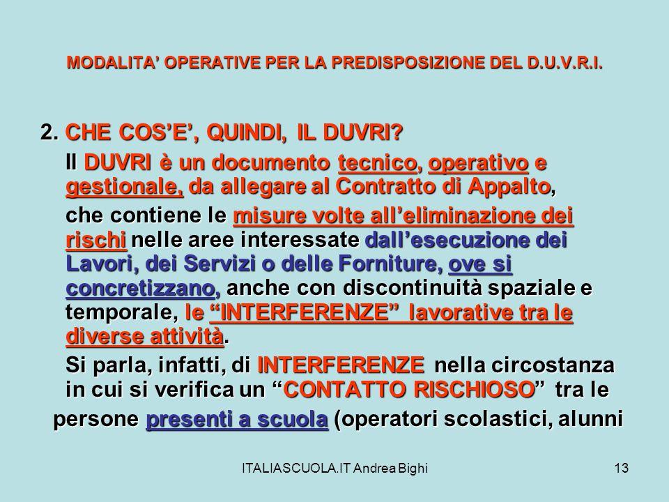 MODALITA' OPERATIVE PER LA PREDISPOSIZIONE DEL D.U.V.R.I.