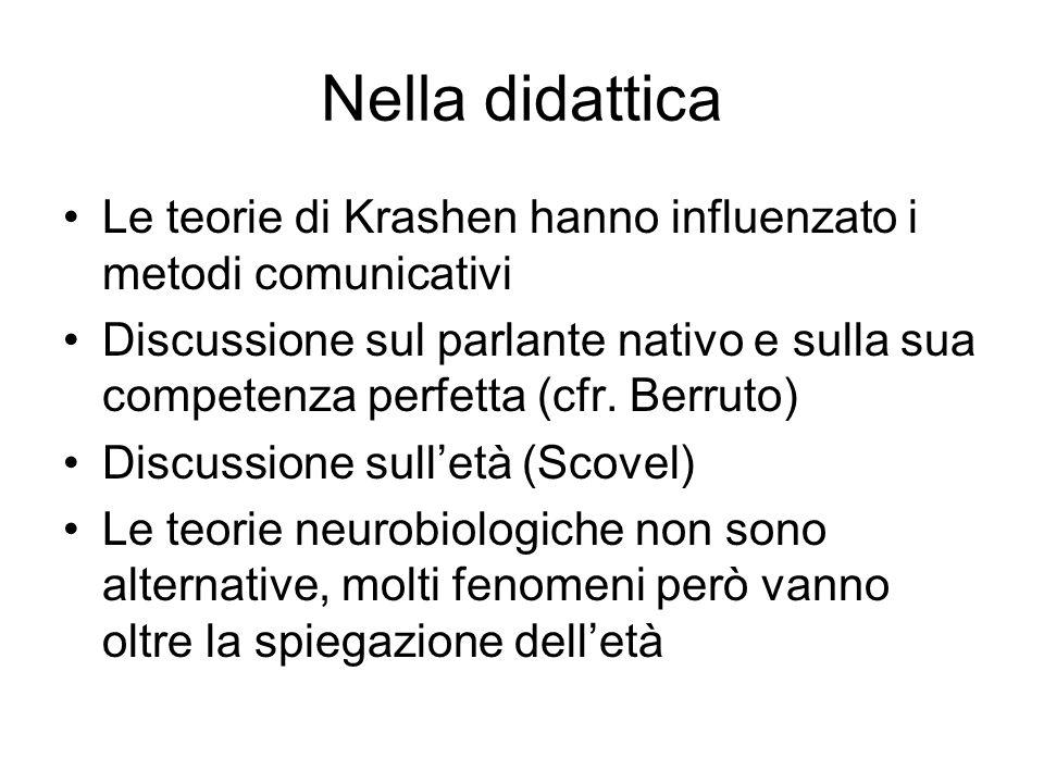 Nella didattica Le teorie di Krashen hanno influenzato i metodi comunicativi.