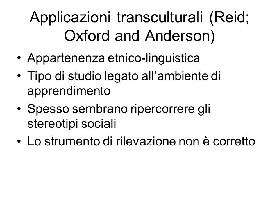 Applicazioni transculturali (Reid; Oxford and Anderson)