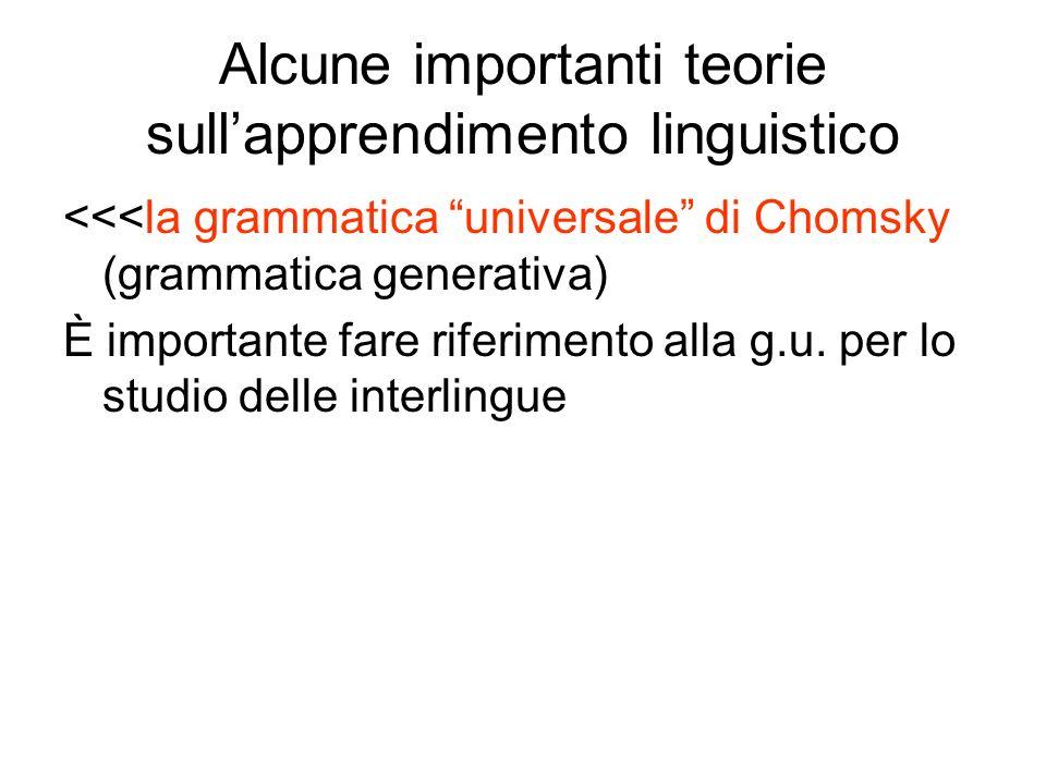 Alcune importanti teorie sull'apprendimento linguistico