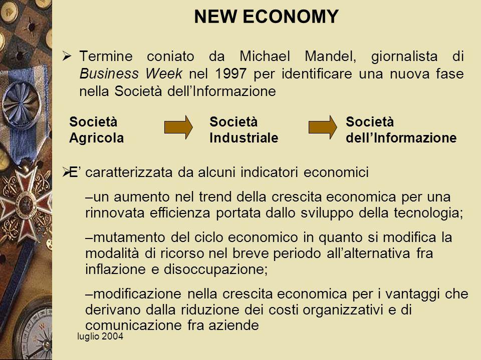 NEW ECONOMY Termine coniato da Michael Mandel, giornalista di Business Week nel 1997 per identificare una nuova fase nella Società dell'Informazione.