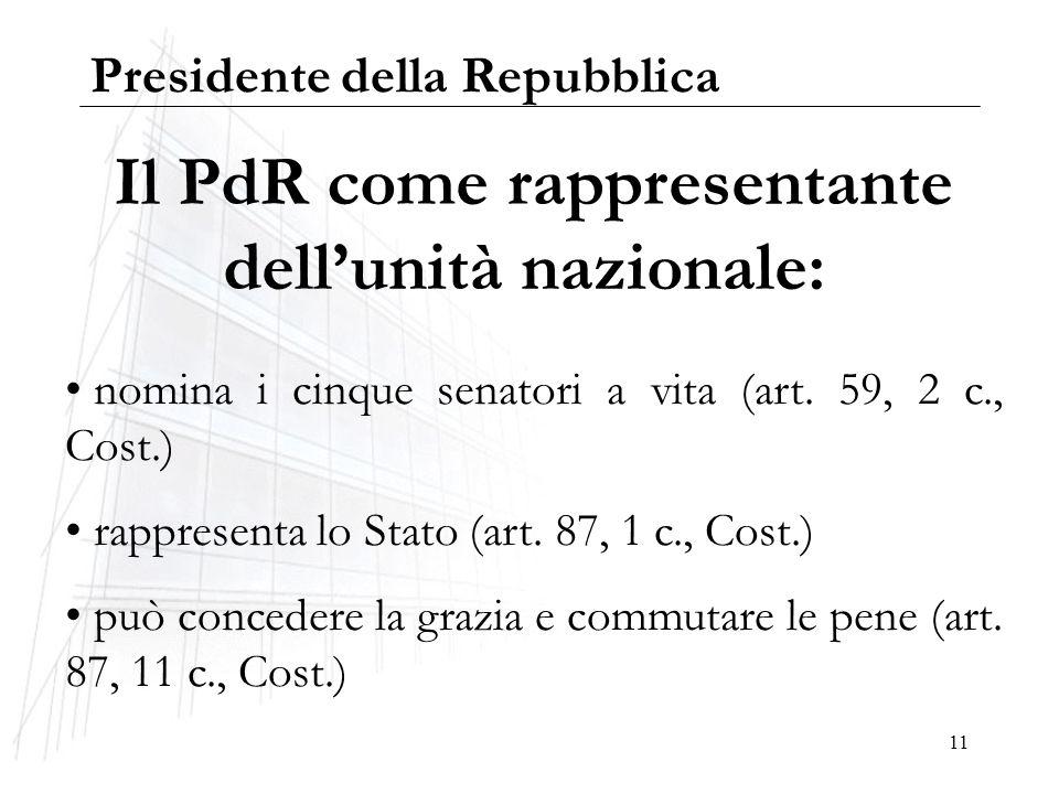 Il PdR come rappresentante dell'unità nazionale: