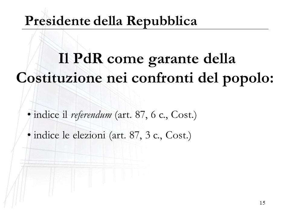 Il PdR come garante della Costituzione nei confronti del popolo: