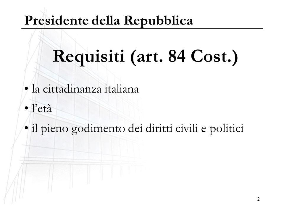 Requisiti (art. 84 Cost.) Presidente della Repubblica