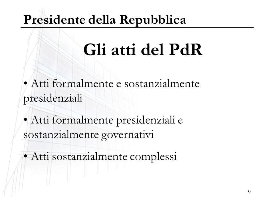 Gli atti del PdR Presidente della Repubblica