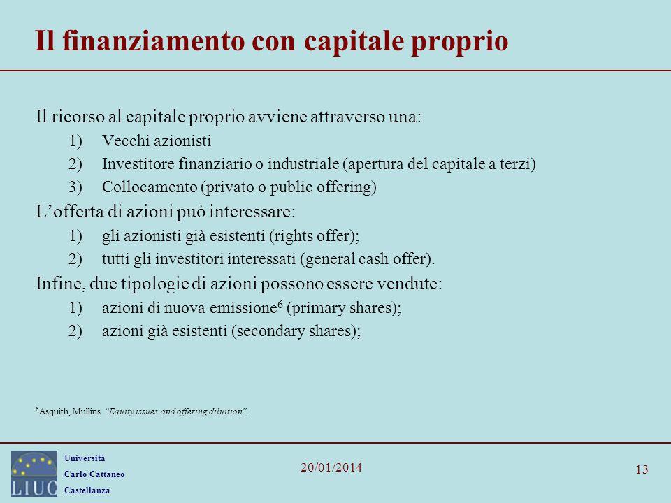 Il finanziamento con capitale proprio