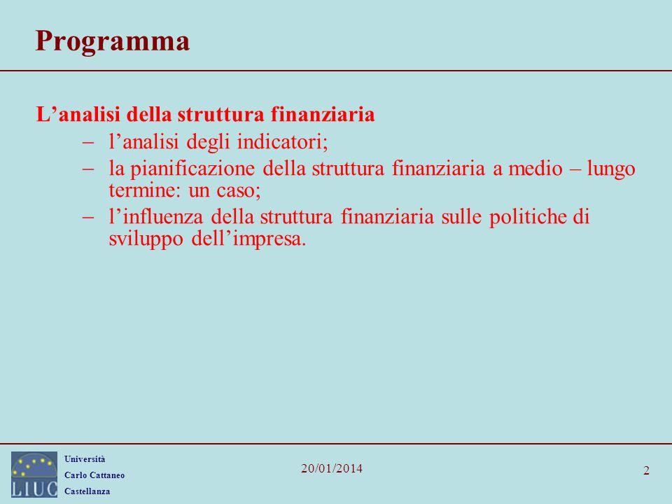 Programma L'analisi della struttura finanziaria