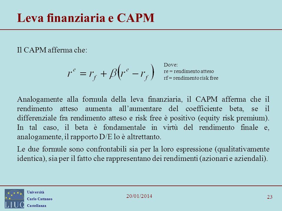 Leva finanziaria e CAPM