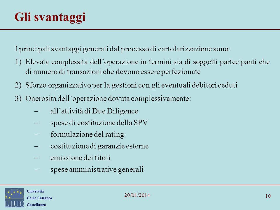 Gli svantaggi I principali svantaggi generati dal processo di cartolarizzazione sono: