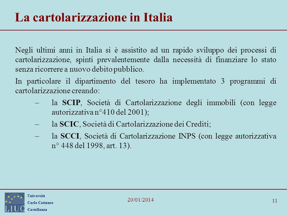 La cartolarizzazione in Italia