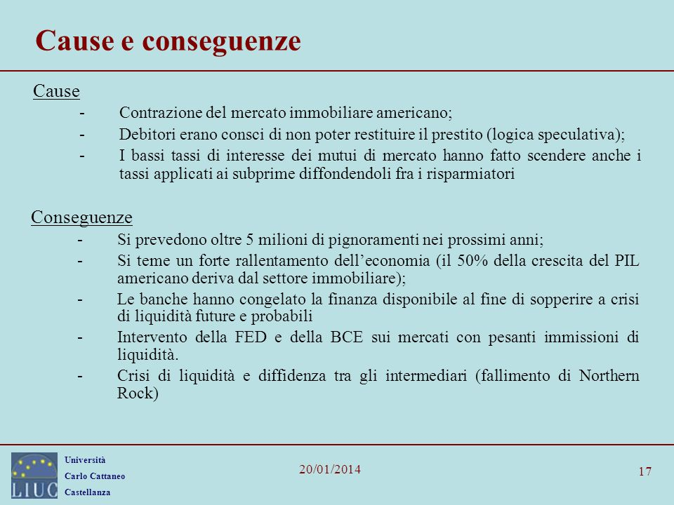 Cause e conseguenze Cause Conseguenze
