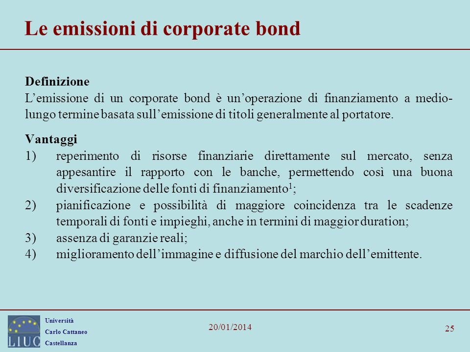 Le emissioni di corporate bond