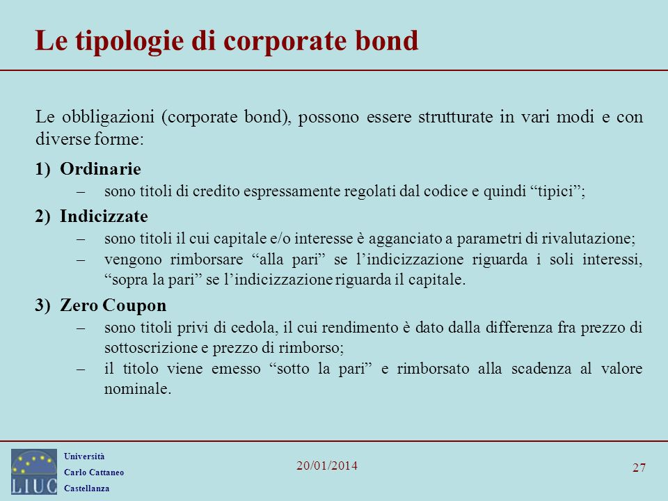 Le tipologie di corporate bond