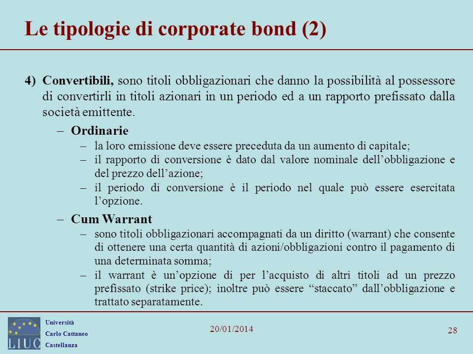 Le tipologie di corporate bond (2)