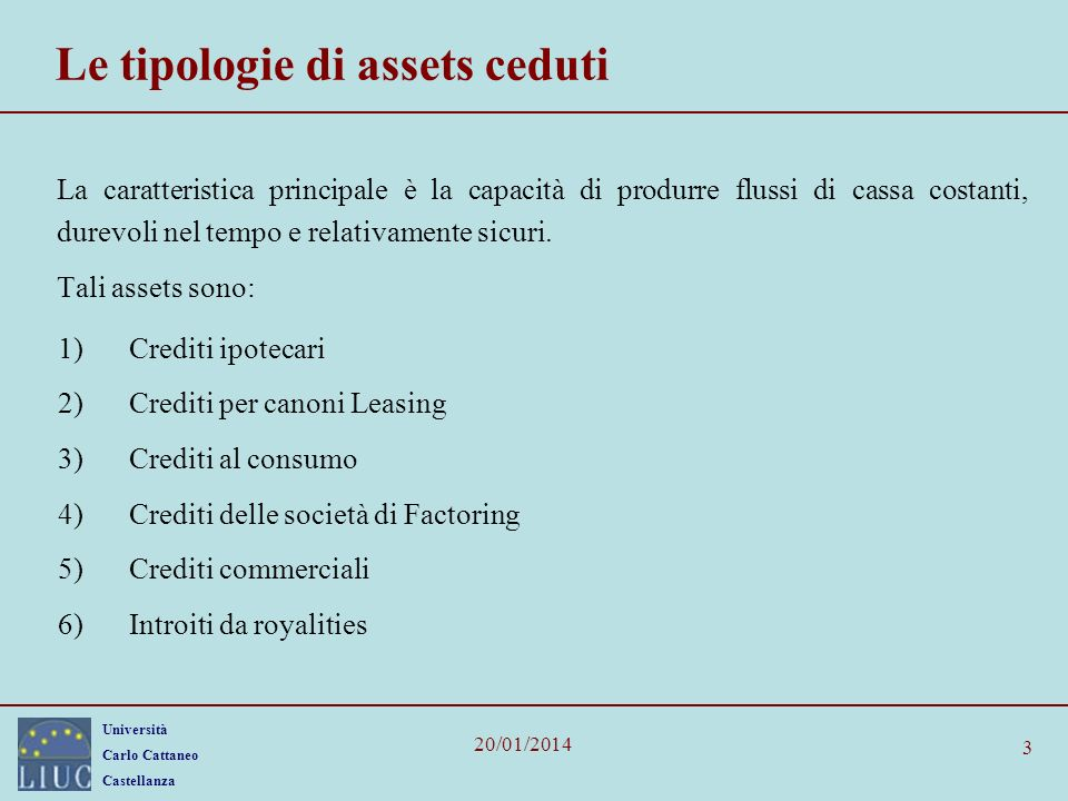 Le tipologie di assets ceduti