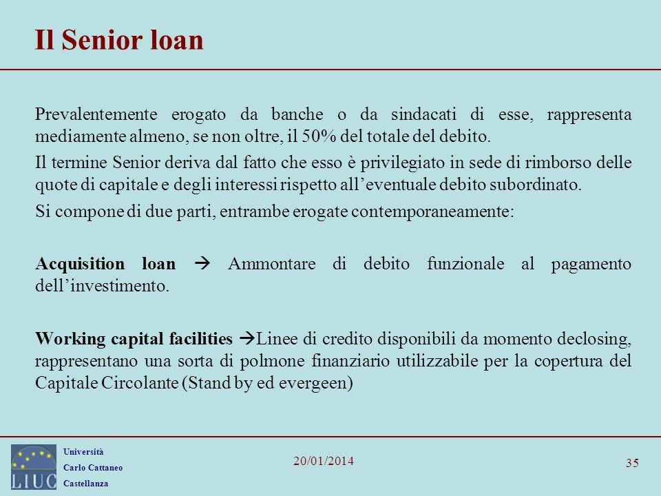Il Senior loan Prevalentemente erogato da banche o da sindacati di esse, rappresenta mediamente almeno, se non oltre, il 50% del totale del debito.