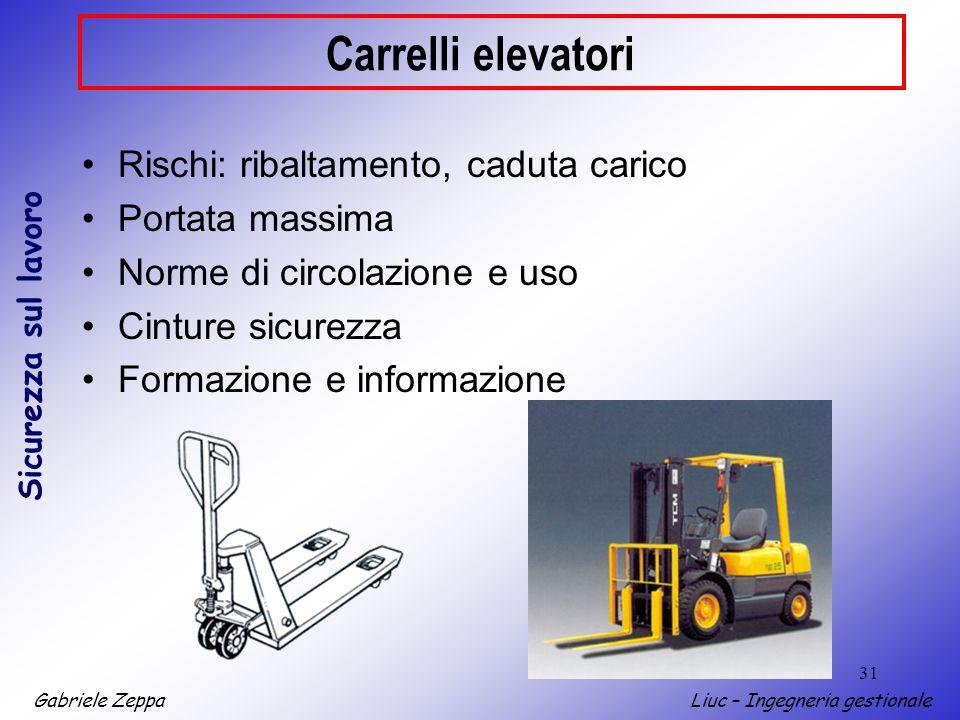 Carrelli elevatori Rischi: ribaltamento, caduta carico Portata massima