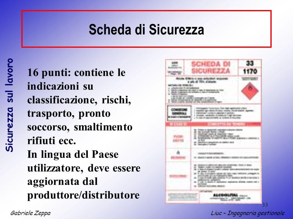 Scheda di Sicurezza 16 punti: contiene le indicazioni su classificazione, rischi, trasporto, pronto soccorso, smaltimento rifiuti ecc.