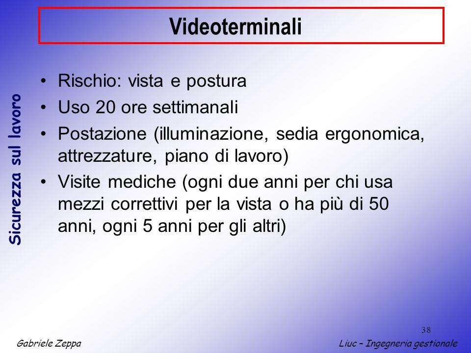 Videoterminali Rischio: vista e postura Uso 20 ore settimanali