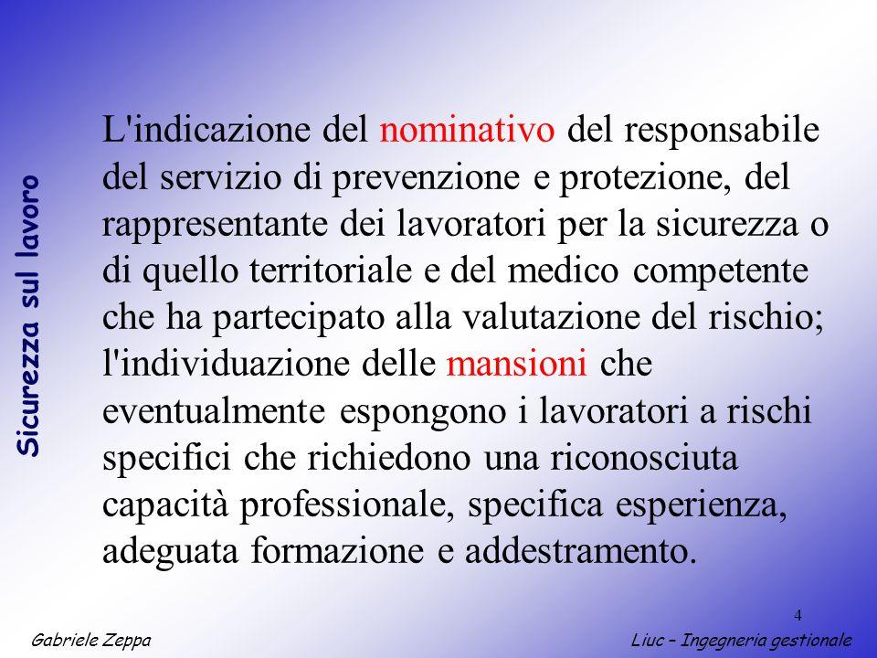 L indicazione del nominativo del responsabile del servizio di prevenzione e protezione, del rappresentante dei lavoratori per la sicurezza o di quello territoriale e del medico competente che ha partecipato alla valutazione del rischio;