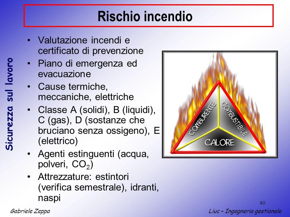 Rischio incendio Valutazione incendi e certificato di prevenzione