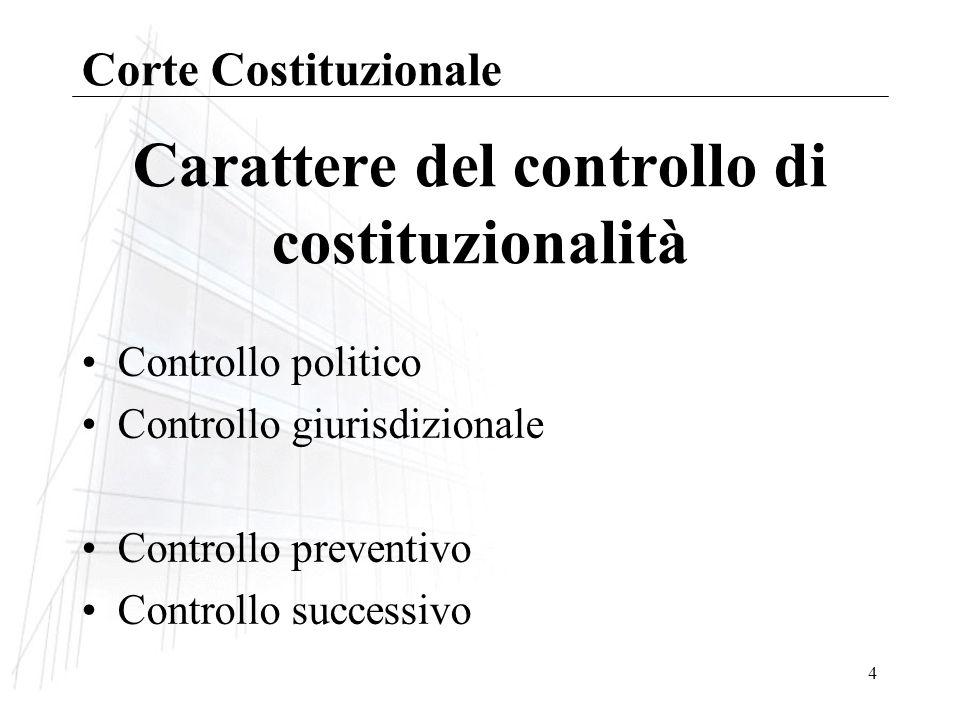 Carattere del controllo di costituzionalità