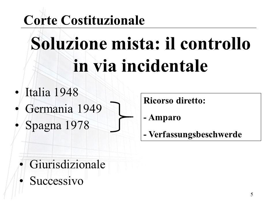 Soluzione mista: il controllo in via incidentale