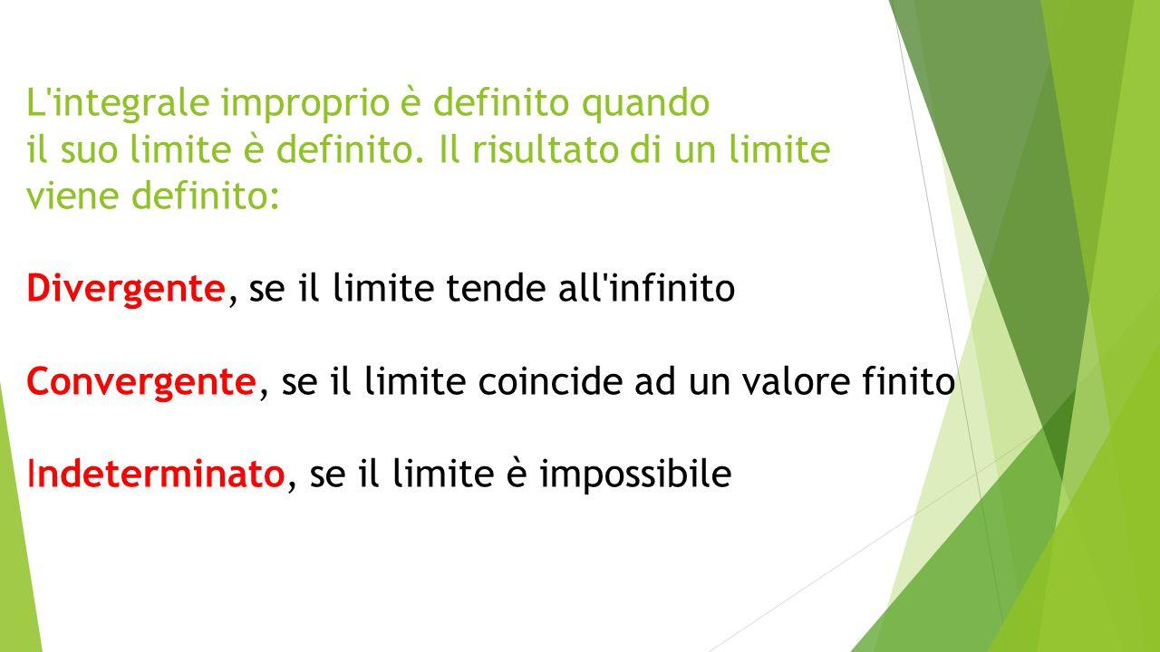 L integrale improprio è definito quando il suo limite è definito