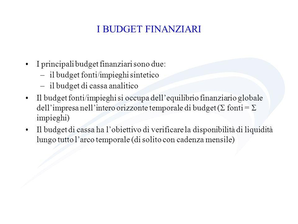 I BUDGET FINANZIARI I principali budget finanziari sono due:
