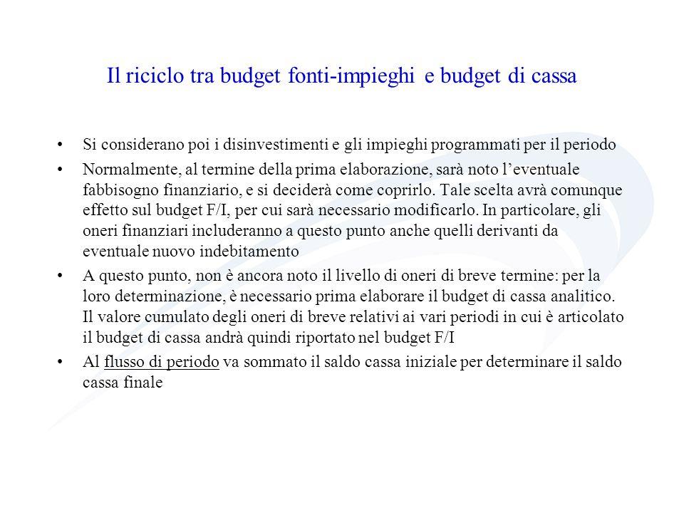Il riciclo tra budget fonti-impieghi e budget di cassa