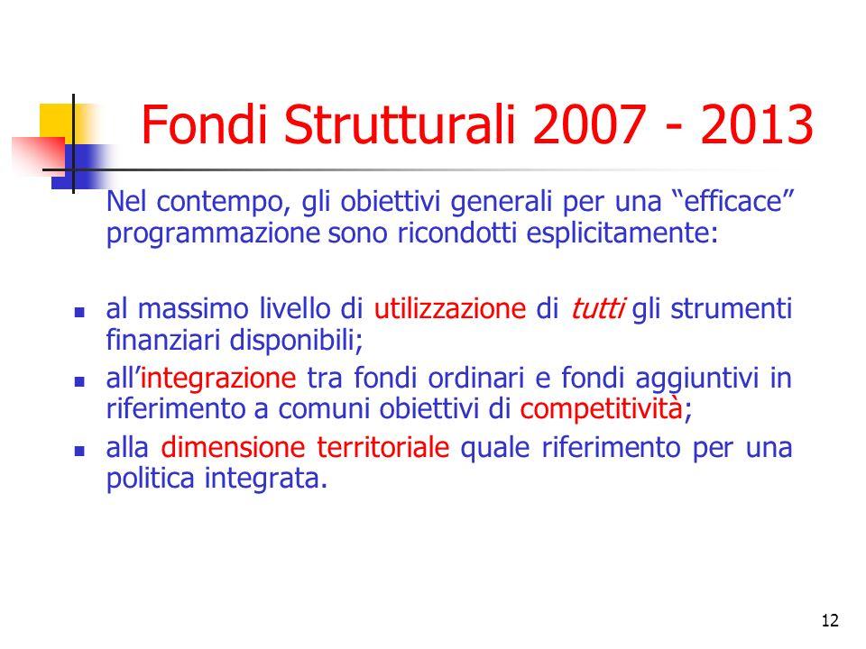 Fondi Strutturali 2007 - 2013 Nel contempo, gli obiettivi generali per una efficace programmazione sono ricondotti esplicitamente: