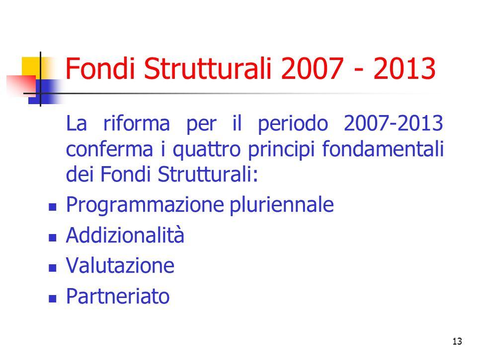 Fondi Strutturali 2007 - 2013 La riforma per il periodo 2007-2013 conferma i quattro principi fondamentali dei Fondi Strutturali: