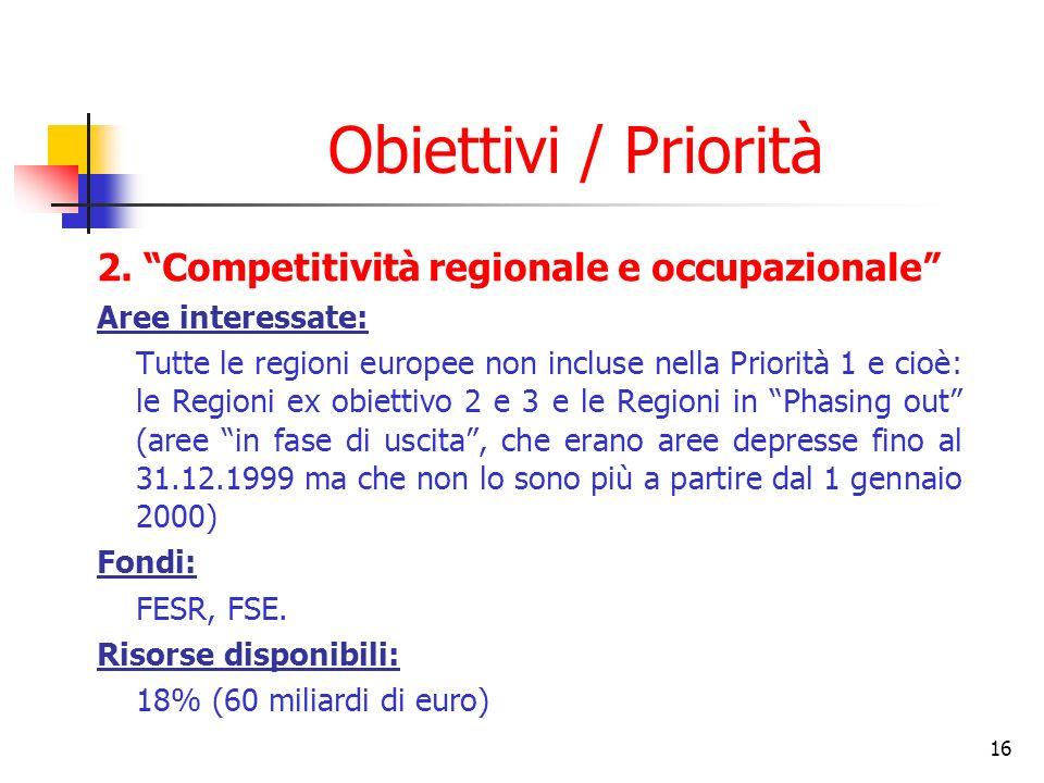 Obiettivi / Priorità 2. Competitività regionale e occupazionale