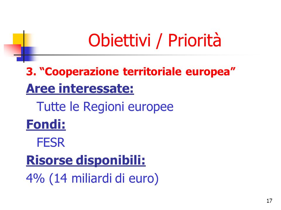 Obiettivi / Priorità Aree interessate: Tutte le Regioni europee Fondi: