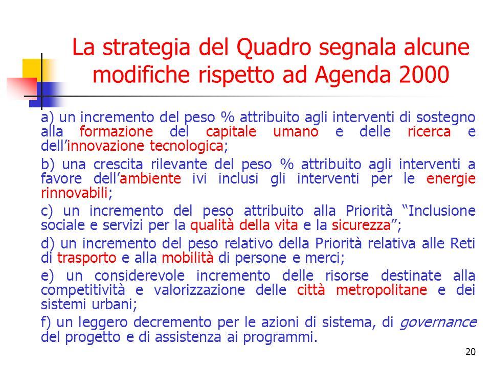 La strategia del Quadro segnala alcune modifiche rispetto ad Agenda 2000