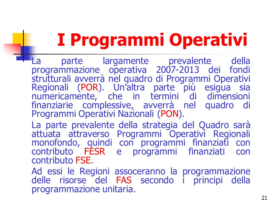 I Programmi Operativi