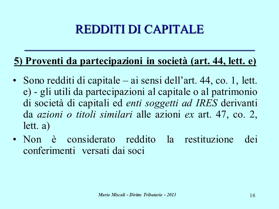 REDDITI DI CAPITALE _____________________________________