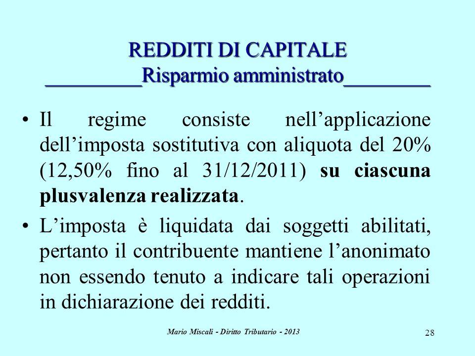 REDDITI DI CAPITALE _________Risparmio amministrato________